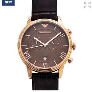 EMPORIO ARMANI AR1616 Unisex Leather Quartz Watch